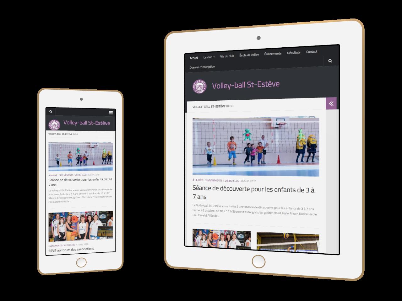 Micraux, nos clients sont nos meilleurs ambassadeurs : vue adaptative sur smartphone et tablette pour Volley-Ball Saint-Estève